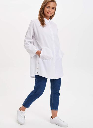 DeFacto Relax Fit Uzun Kollu Gömlek Tunik Beyaz